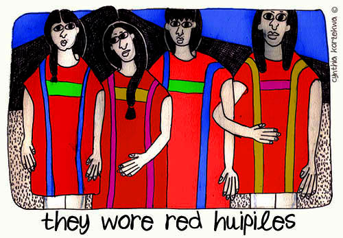 Triqui Women & Red Huipiles