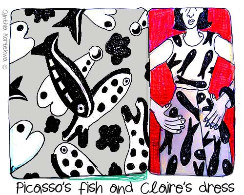 Claire McCardell and Picasso's Fish Print